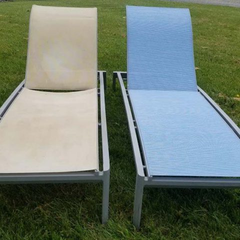 Sling Chaise Lounge Before And After Restoration