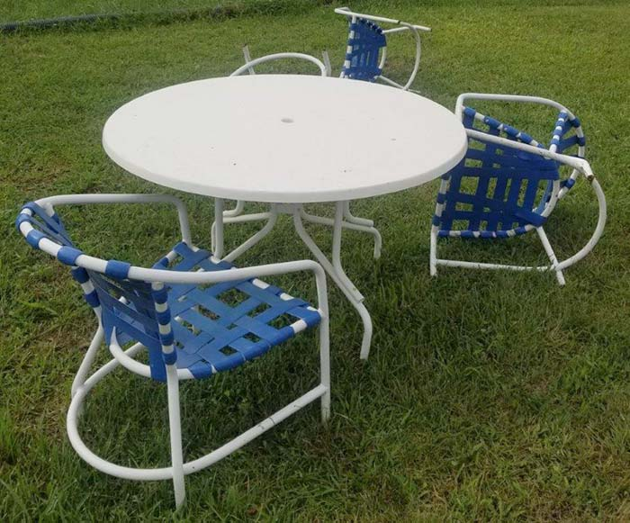 Outdoor Table And Chairs Blown Over From The Wind